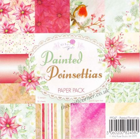 "Painted Poinsettias 6"" x 6"" Designer Paper Pack by Wild Rose Studio"